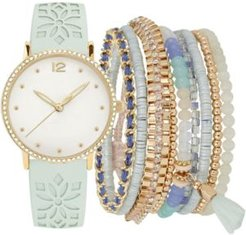 Mint Floral Cut-Out Faux Leather Strap Watch 36mm Gift Set