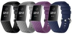Unisex Fitbit Versa Charge 3 Assorted Silicone Watch Replacement Bands - Pack of 4