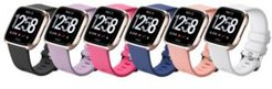 Unisex Fitbit Versa Assorted Silicone Watch Replacement Bands - Pack of 6