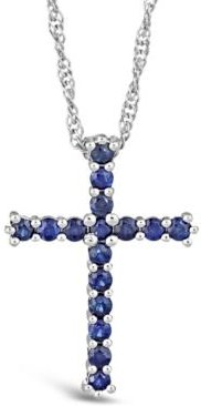 Sapphire (3/4 ct. t.w.) Cross Pendant Necklace in Sterling Silver