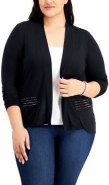 Plus Size Embellished High-Low Cardigan