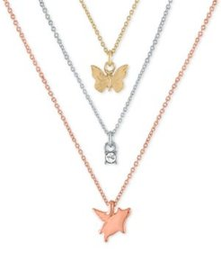 "Tri-Tone 3-Pc. Set Pendant Necklaces, 16"" + 2"" extender"