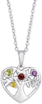"""Multi-Gemstone Tree of Life 18"""" Pendant Necklace (1/5 ct. t.w.) in Sterling Silver"""