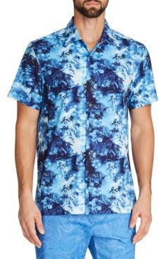 Slim-Fit Performance Stretch Tropical Camp Shirt and a Free Face Mask With Purchase