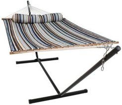 Quilted Fabric 2 Person Hammock with 12' Stand and Spreader Bars