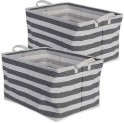 Polyethylene Coated Cotton Polyester Laundry Bin Stripe Rectangle Extra Large Set of 2