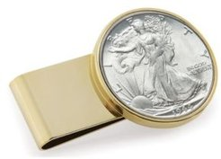 Silver Walking Liberty Half Dollar Stainless Steel Coin Money Clip