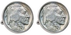 1913 First-Year-Of-Issue Buffalo Nickel Bezel Coin Cuff Links