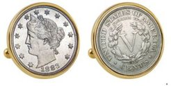 1883 First-Year-Of-Issue Liberty Nickel Bezel Coin Cuff Links