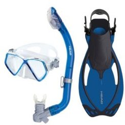 Head Pirate Dry Snorkeling Scuba Mask Flippers Set with Travel Bag