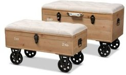 Finlay Transitional Rustic Farmhouse Upholstered 2 Piece Wheeled Storage Ottoman Set