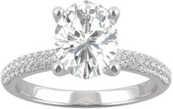 Moissanite Oval Pave Engagement Ring (2-3/8 ct. t.w. Dew) in 14k White Gold