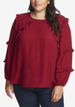 Plus Long Sleeve Tiered Ruffle Blouse