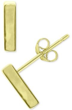 Polished Bar Stud Earrings in 18k Gold-Plated Sterling Silver or Sterling Silver, Created for Macy's