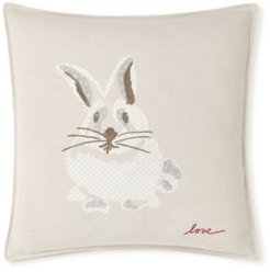 """20"""" L x 20"""" W Bunny Embroidered Square Pillow Bedding"""