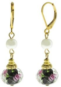 2028 Gold-Tone Imitation Pearl and Black Floral Drop Bead Earrings