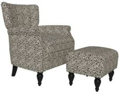 Citybrook Channel Tufted Rolled Arm Chair and Ottoman Set