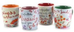 Papillion 4 Piece 17 Ounce Stoneware Floral Butterfly Mug Set