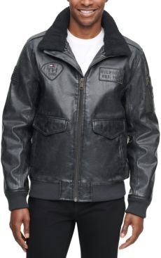 Top Gun Faux Leather Aviator Bomber Jacket, Created for Macy's