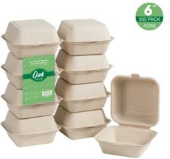 """6"""" Sugarcane Clamshell Containers Set, Pack of 300"""