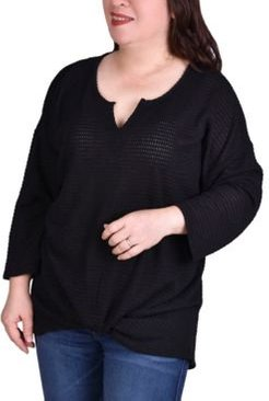 Plus Size Twist Front Long Sleeve Pullover Top