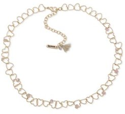 """Gold-Tone Bead-Accent Linked Heart Collar Necklace, 16"""" + 3"""" extender"""