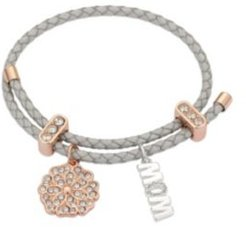 """Metallic Cord and Rose Gold Flash Fine Silver Plated Crystal Flower """"Mom"""" Adjustable Charm Bracelet"""