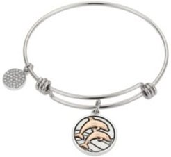 """""""In High Tide"""" Dolphins Adjustable Bangle Bracelet in Stainless Steel and Rose Gold Two-Tone Fine Silver Plated Charms"""