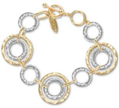 Two-Tone Hammered Link Bracelet, Created for Macy's