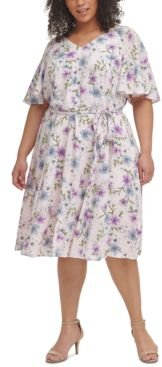Plus Size Floral-Print Flutter-Sleeve Challis Dress