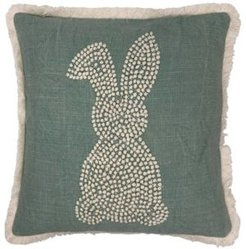 """Embroidered Easter Rabbit Pillow with Fringe, 18"""" x 18"""""""