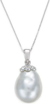 Cultured South Sea Baroque Pearl (11mm) and Diamond Accent Pendant Necklace in 14k White Gold