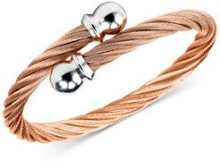 Unisex Celtic Twisted Cable Bracelet in Rose Gold-Plated Stainless Steel