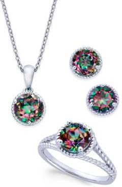 Mystic Quartz Rope-Style Pendant Necklace, Stud Earrings and Ring Set (4 ct. t.w.) in Sterling Silver