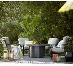 Marlough Round Fire Pit Chat Set, with Sunbrella Cushions, Created for Macy's