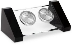 Workplace Crystal & Silver-Tone Metal Dual Time Clocks