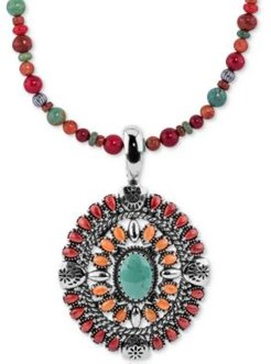 """Multi-Stone Pendant Necklace (12-1/4 ct. t.w.) in Sterling Silver, 17"""" + 3"""" extender"""