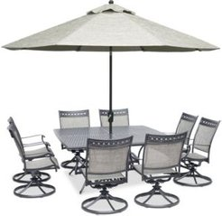 """Vintage Ii Outdoor Aluminum 9-Pc. Dining Set (64"""" Square Dining Table & 8 Swivel Rockers), Created for Macy's"""