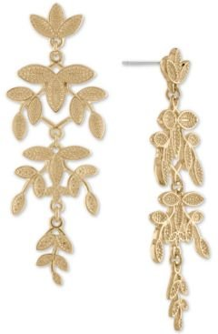 Gold-Tone Leaf Chandelier Earrings