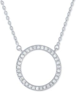 """Diamond Circle Pendant Necklace (1/4 ct. t.w.) in Sterling Silver, 16"""" + 2"""" extender"""