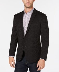 Slim-Fit Black Camouflage Sport Coat, Online Only