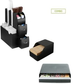 Coffee Condiment Organizer with Draw for 36 K-Cups, Black