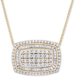"Diamond Cluster 18"" Pendant Necklace (2 ct. t.w.) in 14k Gold"