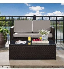Palm Harbor 2 Piece Outdoor Wicker Seating Set With Cushions- Loveseat And Glass Top Table