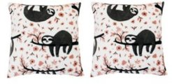 """Polyester Fill Seth Sloth Fleece Pillow, Pack of 2, 18"""" x 18"""""""