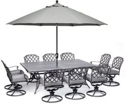 """Grove Hill Ii Outdoor Cast Aluminum 11-Pc. Dining Set (84"""" X 60"""" Table & 10 Swivel Chairs) With Sunbrella Cushions, Created for Macy's"""