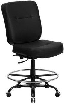 Offex 400 lb. Capacity Big & Tall Black Leather Drafting Stool with Extra Wide Seat