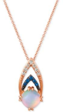 """Neopolitan Opal (3/4 ct. t.w.), Passion Ruby Accent & Nude Diamonds (1/10 ct. t.w.) 18"""" Pendant Necklace in 14k Rose Gold"""