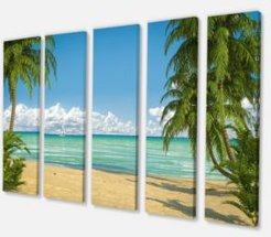 "Designart Palms At Caribbean Beach Canvas Art Print - 60"" X 28"" - 5 Panels"