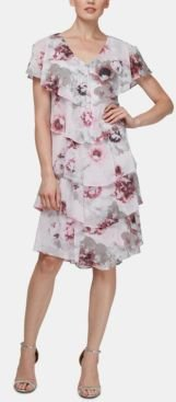 Allover-Floral Tiered Shift Dress